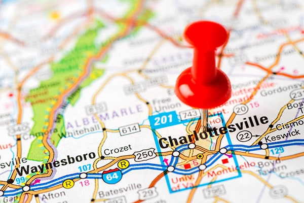 Charlottesville pinned on Map